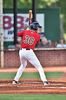 Elizabethton Twins right fielder Alex Kirilloff (30) awaits a pitch during a game against the Bristol Pirates at Joe O'Brien Field on July 30, 2016 in Elizabethton, Tennessee. The Twins defeated the Pirates 6-3. (Tony Farlow/Four Seam Images)