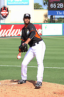 Kendry Flores (37) of the Miami Marlins warms up during a spring training game against the St. Louis Cardinals at the Roger Dean Complex in Jupiter, Florida on March 5, 2015. St. Louis defeated Miami 4-1. (Stacy Jo Grant/Four Seam Images)