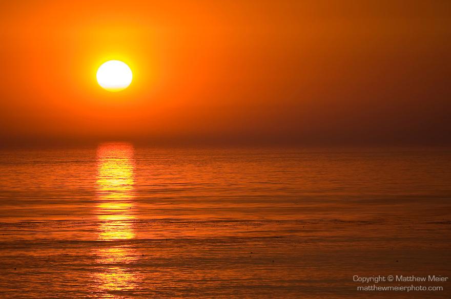 Windansea, La Jolla, California; a large orange sun sets over the Eastern Pacific Ocean