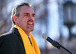 Nevada Superintendent Dale Erquiaga speaks to several hundred supporters at a &quot;Nevada Supports School Choice&quot; rally in support of educational choices on the Capitol grounds in Carson City, Nev., on Wednesday, Jan. 28, 2015.<br /> Photo by Cathleen Allison