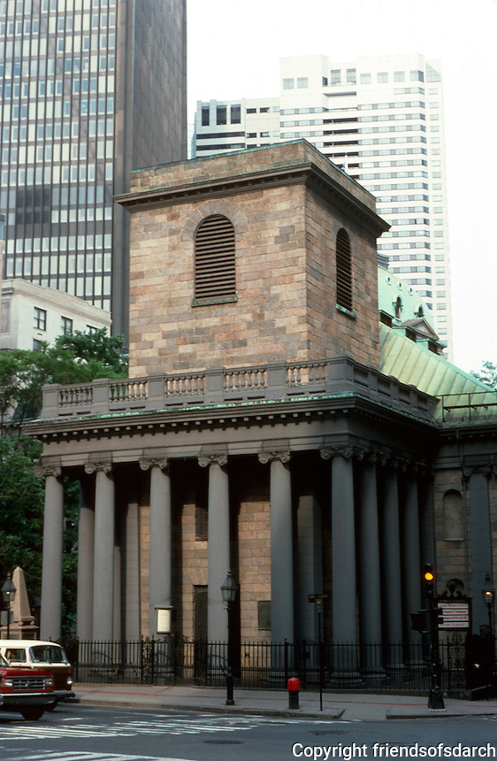 Boston:  King's Chapel, 1750.  Architect Peter Harrison of R. I.  This recalls Hawksmoor. The steeple remained unbuilt.  Photo '88.