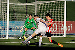 Real Madrid Castilla´s Burgui and Athletic Club B's Magdaleno and Remiro during 2014-15 Spanish Second Division match between Real Madrid Castilla and Athletic Club B at Alfredo Di Stefano stadium in Madrid, Spain. February 08, 2015. (ALTERPHOTOS/Luis Fernandez)