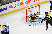 June 6, 2019: St. Louis Blues left wing David Perron (57) shoots on Boston Bruins goaltender Tuukka Rask (40) during game 5 of the NHL Stanley Cup Finals between the St Louis Blues and the Boston Bruins held at TD Garden, in Boston, Mass. The Blues defeat the Bruins 2-1 in regulation time. Eric Canha/CSM