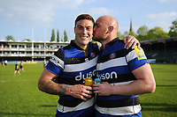 Matt Banahan and Matt Garvey of Bath Rugby after the match. Aviva Premiership match, between Bath Rugby and London Irish on May 5, 2018 at the Recreation Ground in Bath, England. Photo by: Patrick Khachfe / Onside Images