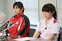 (L to R) Chinatsu Matsui, Risa Sugimoto, SEPTEMBER 9, 2013 - Squash : Japanese Squash team attend press conference about squash not being selected from the Olympic summer Games in 2020 <br />  at Kishi Gymnasium, Tokyo, Japan. (Photo by Yusuke Nakanishi/AFLO SPORT)
