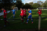 The players leaving the field at half-time as Nelson (in blue) hosted Daisy Hill in a North West Counties League first division north fixture at Victoria Park. Founded in 1881, the home club were members of the Football League from 1921-31 and has played at their current ground, known as Little Wembley, since 1971. The visitors won this fixture 6-3, watched by an attendance of 78.