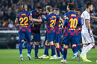 29th October 2019; Camp Nou, Barcelona, Catalonia, Spain; La Liga Football, Barcelona versus Real Valladolid; FC Barcelona team celebrating their goal against Valladolid from Lenglet in the 2nd minute for 1-0 - Editorial Use