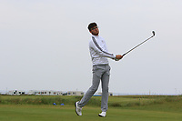Harry Goddard (ENG) on the 1st tee during Round 1of the Flogas Irish Amateur Open Championship 2019 at the Co.Sligo Golf Club, Rosses Point, Sligo, Ireland. 16/05/19<br /> <br /> Picture: Thos Caffrey / Golffile<br /> <br /> All photos usage must carry mandatory copyright credit (© Golffile | Thos Caffrey)