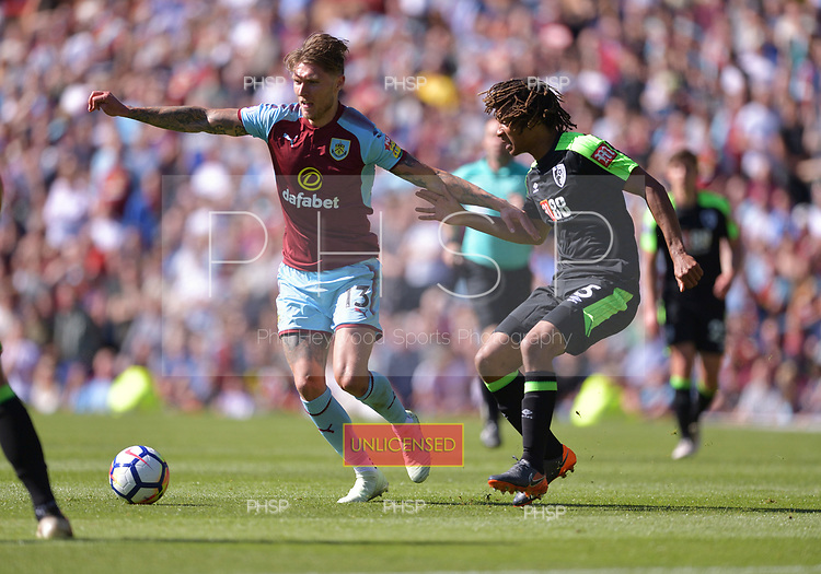 13/05/2018 Premier League Burnley v AFC Bournemouth<br /> <br /> Jeff Hendrick holds off Nathan Ake