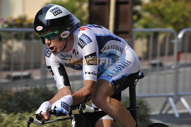Team Saxo Bank rider Stuart O'Grady (AUS) powers his way round during the Prologue Stage 1 of the 2009 Tour de France a 15.5km individual time trial held around Monaco. 4th July 2009 (Photo by Eoin Clarke/NEWSFILE)