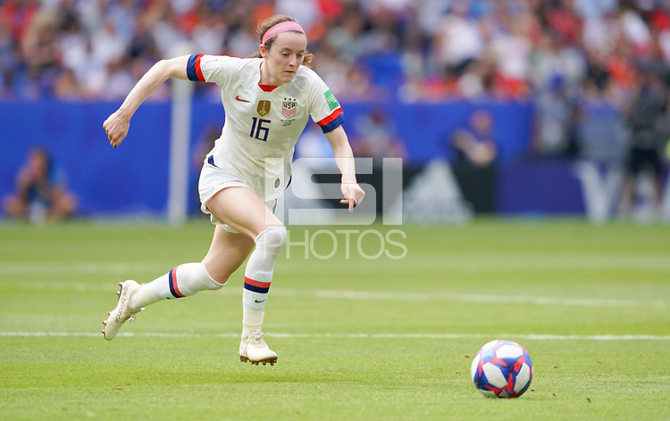 DECINES-CHARPIEU, FRANCE - JULY 07: Rose Lavelle #16 during the 2019 FIFA Women's World Cup France Final match between Netherlands and the United States at Groupama Stadium on July 07, 2019 in Decines-Charpieu, France.