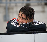 22 July 2009: Argentina's River Plate player Marcelo Gallardo and former DC United player sitting out during the International friendly between Toronto FC and Argentina's River Plate at BMO Field. The game ended in a 0-0 tie and River Plate won 4-3 in penalty kicks..