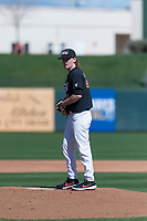 Oregon State Beavers starting pitcher Bryce Fehmel (26) prepares to deliver a pitch during a game against the Gonzaga Bulldogs on February 16, 2019 at Surprise Stadium in Surprise, Arizona. (Zachary Lucy/Four Seam Images)