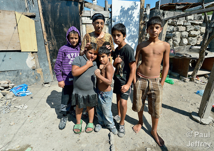 Nadia Yusuf is a Turkish-speaking Roma woman, here with some of her grandchildren, who lives in the Maxsuda neighborhood of Varna, Bulgaria.