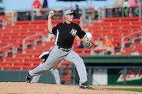 Pitcher Cody Kendall (9) of the Hickory Crawdads in a game against the Greenville Drive on Friday, June 7, 2013, at Fluor Field at the West End in Greenville, South Carolina. Greenville won the resumption of this May 22 suspended game, 17-8. (Tom Priddy/Four Seam Images)