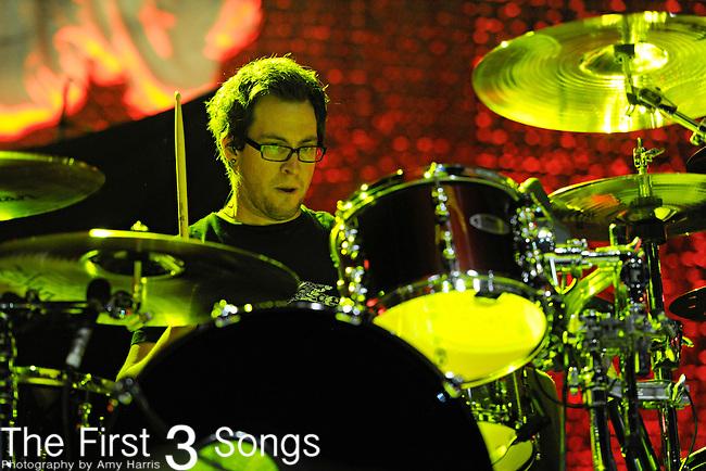 Sam Loeffler of Chevelle performs at PNC Pavilion at Riverbend Music Center in Cincinnati, Ohio on October 7, 2011.