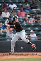 Ryan Mountcastle (4) of the Delmarva Shorebirds at bat against the Hickory Crawdads at L.P. Frans Stadium on June 18, 2016 in Hickory, North Carolina.  The Crawdads defeated the Shorebirds 1-0 in game one of a double-header.  (Brian Westerholt/Four Seam Images)