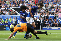 Diogo Jota of Wolverhampton Wanderers is stopped by Çaglar Soyuncu of Leicester City during Leicester City vs Wolverhampton Wanderers, Premier League Football at the King Power Stadium on 11th August 2019