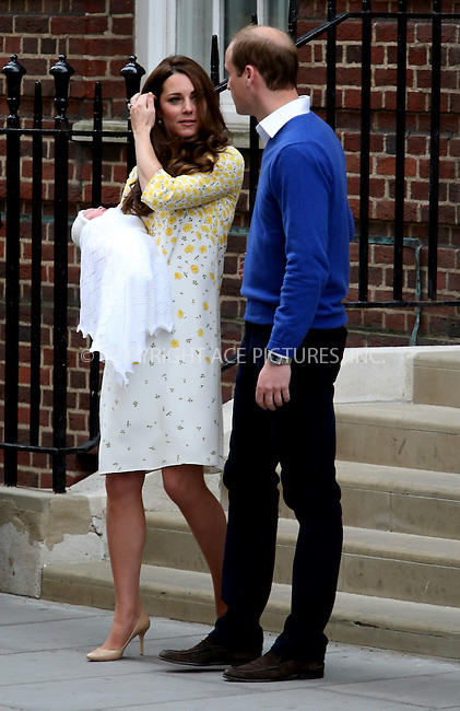 WWW.ACEPIXS.COM<br /> <br /> May 2 2015, London<br /> <br /> Catherine, Duchess of Cambridge and Prince William, Duke of Cambridge leaving the Lindo Wing with their newborn daughter Charlotte at St Mary's Hospital on May 2, 2015 in London, England. <br /> <br /> By Line: Hugo Philpott/ACE Pictures<br /> <br /> ACE Pictures, Inc.<br /> tel: 646 769 0430<br /> Email: info@acepixs.com<br /> www.acepixs.com