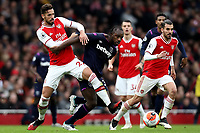 7th March 2020; Emirates Stadium, London, England; English Premier League Football, Arsenal versus West Ham United; Pablo Mari of Arsenal competes for the ball with Michail Antonio of West Ham United\