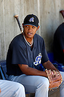 Addison Russell #27 of the Stockton Ports before a game against the High Desert Mavericks at Stater Bros. Stadium on April 27, 2013 in Adelanto, California. Stockton defeated High Desert, 17-7. (Larry Goren/Four Seam Images)