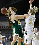 RAPID CITY, SD - FEBRUARY 24, 2016 -- Megan Rohrer #33 of South Dakota Mines fouls Remi Wientjes #10 of Black Hills State during their college basketball game Wednesday at the Rushmore Plaza Civic Center Ice Arena, S.D.  (Photo by Dick Carlson/Inertia)