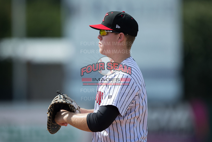 Kannapolis Intimidators first baseman Gavin Sheets (23) on defense against the Hagerstown Suns at Kannapolis Intimidators Stadium on July 9, 2017 in Kannapolis, North Carolina.  The Intimidators defeated the Suns 3-2 in game one of a double-header.  (Brian Westerholt/Four Seam Images)