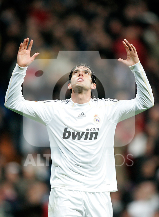 Real Madrid's Kaka celebrates during La Liga match. February 21, 2010. (ALTERPHOTOS/Alvaro Hernandez).