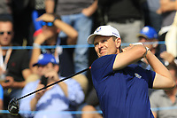 Justin Rose Team Europe tees off the 17th tee during Friday's Fourball Matches at the 2018 Ryder Cup, Le Golf National, Iles-de-France, France. 28/09/2018.<br /> Picture Eoin Clarke / Golffile.ie<br /> <br /> All photo usage must carry mandatory copyright credit (© Golffile | Eoin Clarke)