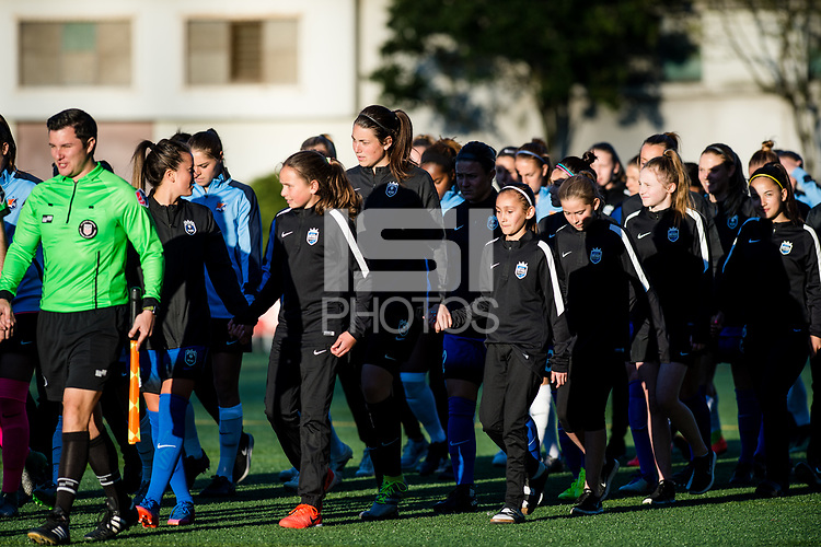 Seattle, WA - April 15th, 2017: Seattle Reign FC during a regular season National Women's Soccer League (NWSL) match between the Seattle Reign FC and Sky Blue FC at Memorial Stadium.