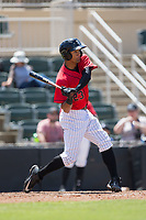 Joel Booker (23) of the Kannapolis Intimidators at bat against the Asheville Tourists at Kannapolis Intimidators Stadium on May 7, 2017 in Kannapolis, North Carolina.  The Tourists defeated the Intimidators 4-1.  (Brian Westerholt/Four Seam Images)