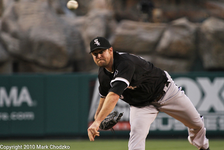 John Danks of the Chicago White Sox delivers a pitch against the Angels.