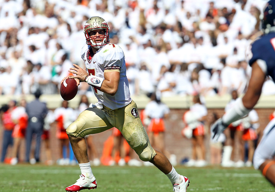 Oct 2, 2010; Charlottesville, VA, USA; Florida State Seminoles quarterback Christian Ponder (7) scrambles with the ball during the game against the Virginia Cavaliers at Scott Stadium. Florida State won 34-14.  Mandatory Credit: Andrew Shurtleff