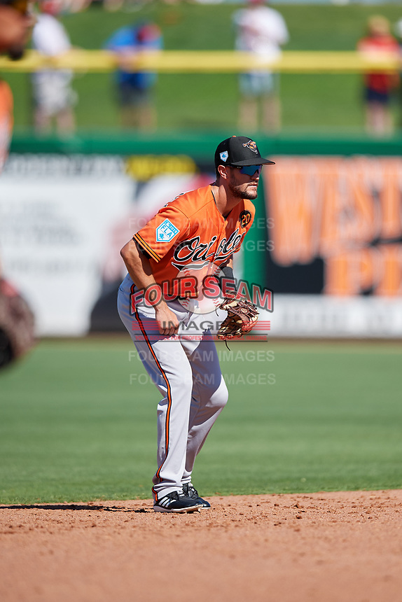 Baltimore Orioles shortstop Jack Reinheimer (69) during a Grapefruit League Spring Training game against the Philadelphia Phillies on February 28, 2019 at Spectrum Field in Clearwater, Florida.  Orioles tied the Phillies 5-5.  (Mike Janes/Four Seam Images)