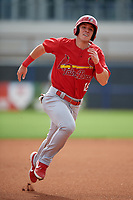Palm Beach Cardinals Zach Kirtley (18) running the bases during a Florida State League game against the Charlotte Stone Crabs on April 14, 2019 at Charlotte Sports Park in Port Charlotte, Florida.  Palm Beach defeated Charlotte 5-3.  (Mike Janes/Four Seam Images)