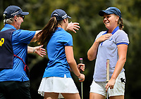 Brittney Dryland reacts as she learns she has won her semi final match. Day Four of the Toro Interprovincial Women's Championship, Sherwood Golf Club, Whangarei,  New Zealand. Friday 8 December 2017. Photo: Simon Watts/www.bwmedia.co.nz