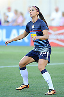 US Women's National forward Alex Morgan (13) warming up for the International Friendly soccer match between the USA Women's National team and the Korea Republic Women's Team held at Gillette Stadium in Foxborough Massachusetts.   Eric Canha/CSM