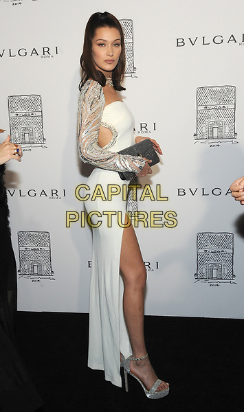 NEW YORK, NY - OCTOBER 19: Bella Hadid attnds the re-opening of the  Bulgari flagship store on Fifth Avenue in New York City on October 20, 2017. <br /> CAP/MPI/JP<br /> &copy;JP/MPI/Capital Pictures