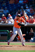 Baltimore Orioles first baseman Chris Davis (19) at bat during a Grapefruit League Spring Training game against the Philadelphia Phillies on February 28, 2019 at Spectrum Field in Clearwater, Florida.  Orioles tied the Phillies 5-5.  (Mike Janes/Four Seam Images)