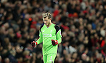 Loris Karius of Liverpool reacts after Adam Lallana of Liverpool scores during the Premier League match at Anfield Stadium, Liverpool. Picture date: December 11th, 2016.Photo credit should read: Lynne Cameron/Sportimage