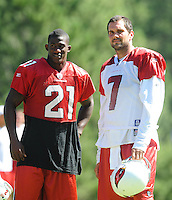 Jul 30, 2008; Flagstaff, AZ, USA; Arizona Cardinals safety (21) Antrel Rolle and quarterback (7) Matt Leinart during training camp on the campus of Northern Arizona University. Mandatory Credit: Mark J. Rebilas-