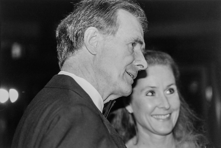 Sen. Donald W. Riegle, D-Mich., and wife Lori at Democratic Senatorial Campaign Committee fundraiser at Washington Hilton on Oct. 5, 1993. (Photo by Maureen Keating/CQ Roll Call)