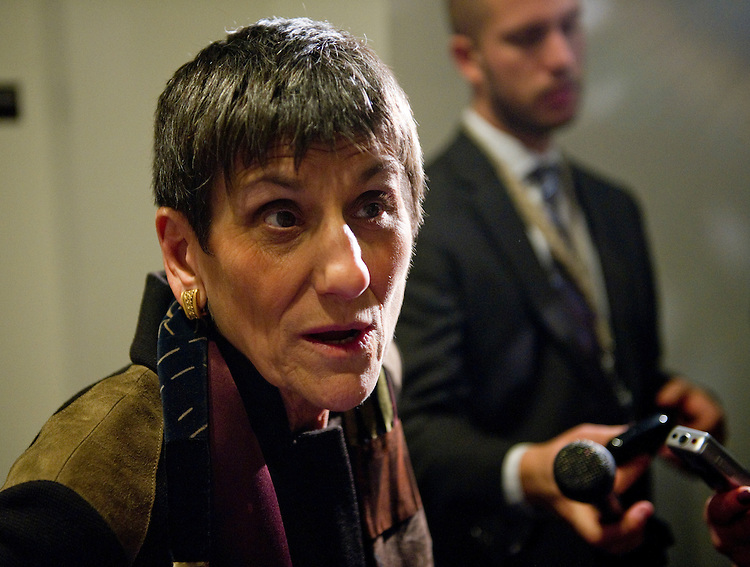 WASHINGTON, DC- Jan. 12: Rep. Rosa DeLauro, D-Conn., talks to media outside Democratic meetings for the steering committee to decide committee posts, and a security briefing for members in the wake of the shooting in Tuscon, Ariz., on Jan. 8 that killed six and injured 14, including Giffords, D-Ariz., who is recovering after being shot in the head. (Photo by Scott J. Ferrell/Congressional Quarterly)