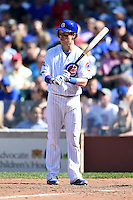 Chicago Cubs outfielder Chris Coghlan (8) at bat during a game against the Milwaukee Brewers on August 14, 2014 at Wrigley Field in Chicago, Illinois.  Milwaukee defeated Chicago 6-2.  (Mike Janes/Four Seam Images)