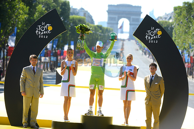 Peter Sagan (SVK) Liquigas-Cannondale wins the Green points Jersey at the end of stage 20 running from Rambouillet to Paris Champs-Elysees during the 99th edition of the Tour de  France, 22nd July 2012 (Photo by Prevost/L'Equipe/NEWSFILE)