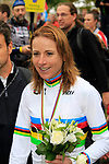 New World Champion Annemiek van Vleuten (NED) shows off her Rainbow Jersey at the end of the Women Elite Road Race of the UCI World Championships 2019 running 149.4km from Bradford to Harrogate, England. 28th September 2019.<br /> Picture: Andy Brady | Cyclefile<br /> <br /> All photos usage must carry mandatory copyright credit (© Cyclefile | Andy Brady)