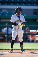 Bradenton Marauders shortstop Adrian Valerio (14) at bat during the first game of a doubleheader against the Lakeland Flying Tigers on April 11, 2018 at Publix Field at Joker Marchant Stadium in Lakeland, Florida.  Lakeland defeated Bradenton 5-4.  (Mike Janes/Four Seam Images)