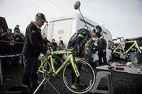 Tire pressure check by Sven Nys (BEL/Crelan-AAdrinks) before the race<br /> <br /> GP Sven Nys 2016