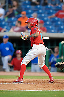 Clearwater Threshers shortstop Arquimedes Gamboa (7) squares around to bunt during a game against the Dunedin Blue Jays on April 6, 2018 at Spectrum Field in Clearwater, Florida.  Clearwater defeated Dunedin 8-0.  (Mike Janes/Four Seam Images)