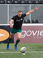 Craig Willis of Ealing Trailfinders during the RFU Championship Cup match between Ealing Trailfinders and Ampthill RUFC at Castle Bar , West Ealing , England  on 28 September 2019. Photo by Alan  Stanford / PRiME Media Images